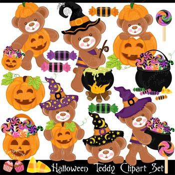 Halloween Teddy Bear Clipart Set