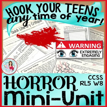 Horror Mini-Unit Bundle ELA Reading & Narrative Writing, Grade 8 - High School