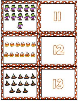Halloween Teen Number Matching Cards