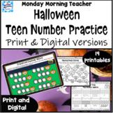 Halloween Teen Number practice: printables and digital dis