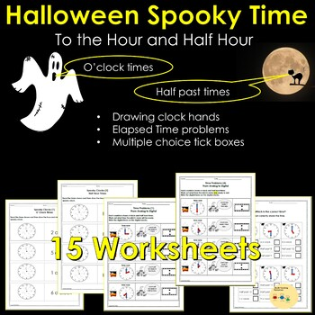 Halloween Telling Time To the Hour and Half Hour and Time Problems