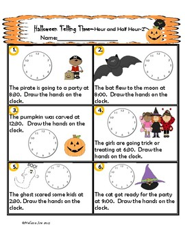 Telling Time Practice Sheets Halloween Theme