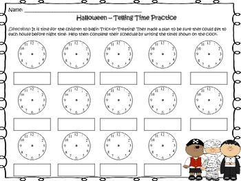 Halloween - Telling Time Worksheets (Templates)