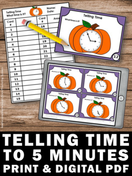 Telling Time to 5 Minute Intervals, Halloween Math Centers Activities SCOOT