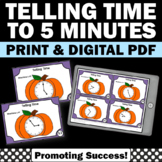 Pumpkin Theme Centers, Telling Time to the 5 Minutes, Thanksgiving Math Games
