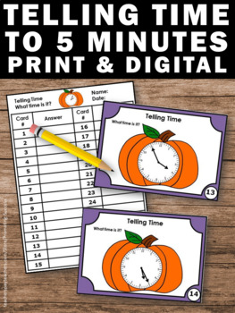 Halloween Math Activities Telling Time to the 5 Minutes Task Cards Pumpkin Theme