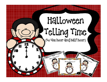 Halloween Math Telling Time (to the hour & half hour) Task