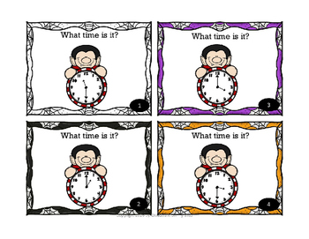 Halloween Math Telling Time (to the hour & half hour) Task Card for Math Centers
