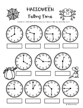 Halloween Telling Time (to the quarter hour) Practice Worksheet