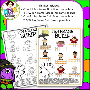 Halloween Bump ● Ten Frame Bump ● Math Game  ● Color & B/W ● Activities