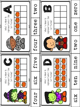 Halloween Ten Frame Clip Cards (Number Words Zero-Ten)