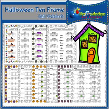 Halloween Ten Frame Math Worksheets