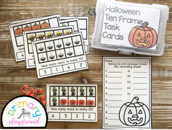Halloween Ten Frame Task Cards Making Ten With  Halloween Friends Center