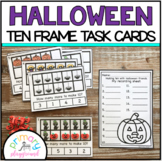 Halloween Ten Frame Task Cards Making Ten With  Halloween