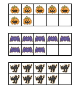 Halloween Ten Frame and Base Ten Number Match