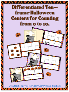 Differentiated Halloween Ten-Frame Centers. Counting from 0 to ten.