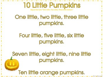 Halloween 10 Little Pumpkins Songs, Props and Number Flashcards