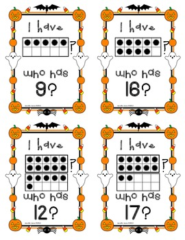 Halloween Tens Frame I Have . . . Who Has?