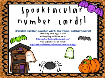 Halloween Tens Frame Number Cards