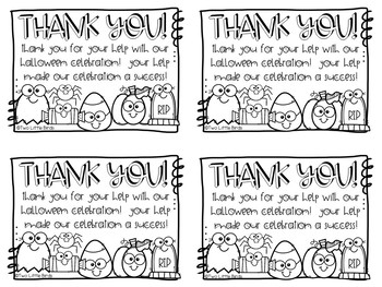 Halloween Thank You Cards for Helpers
