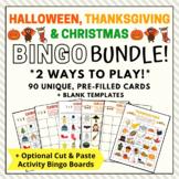 Halloween, Thanksgiving & Christmas Holiday Bingo Games BU