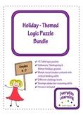 Halloween Thanksgiving Christmas Winter Logic Puzzle Bundle
