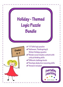 Halloween Thanksgiving Christmas Winter Logic Puzzle Bundle
