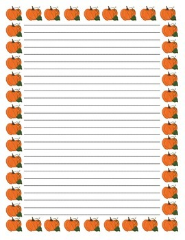 Halloween, Thanksgiving Fall Themed Writing Paper (with an