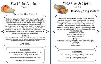 Halloween & Thanksgiving Math in Action: 13 Ready-to-Go Open-Ended Tasks CCSS