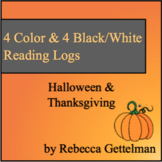 Halloween & Thanksgiving Reading Logs for Independent Reading--Color & BW