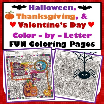 Halloween, Thanksgiving, & Valentine's Day Color-by-Letter