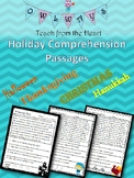 Halloween, Thanksgiving, Winter Holidays- Comprehension and Fluency Passages