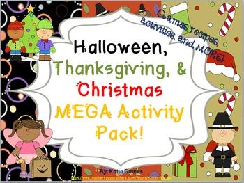 Halloween, Thanksgiving, and Christmas MEGA BUNDLE!