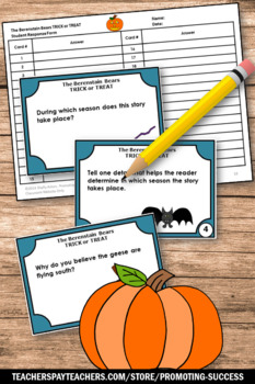 The Berenstain Bears Trick or Treat Reading Comprehension Task Cards