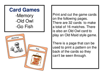 halloween esl halloween vocabulary card games - Esl Halloween Games