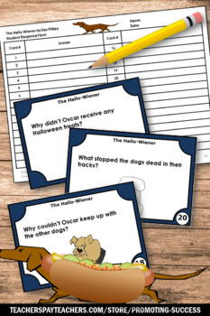 The Hallo-Wiener by Dav Pilkey, Halloween Reading Comprehension Task Cards