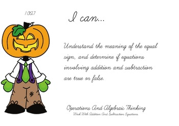 Halloween Theme 1st grade math Common Core Posters first Grade Standards