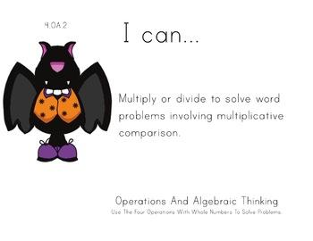 Halloween Theme 4th grade math Common Core Posters fourth Grade Standards