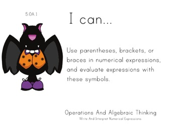 Halloween Theme 5th grade math Common Core Posters Fifth Grade Standards