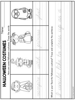 Halloween Theme Based Handwriting Lessons (Cursive Edition)