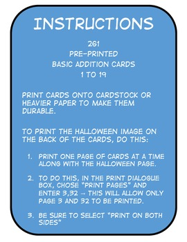Basic Addition Question Cards (Companion for Halloween Board Game Pack)