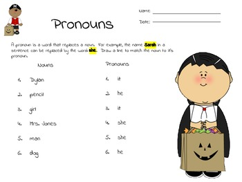 Halloween Theme Basic Pronouns