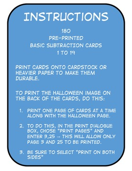 Basic Subtraction Question Cards (Companion for Halloween Board Game Pack)