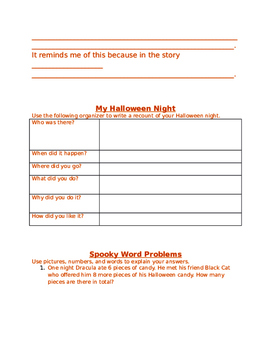 Halloween Theme Day- Primary version, aligned with Ontario Curriculum