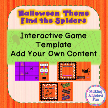 Halloween Theme Find the Spiders Game Editable Template