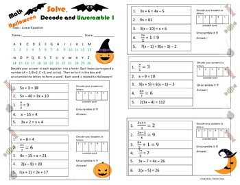Halloween Theme Fun Linear Equation Decode Unscramble Worksheet
