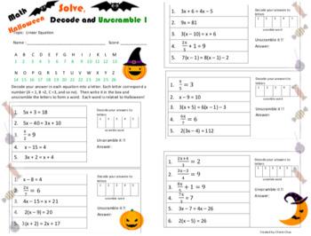 Halloween Theme Fun Linear Equation Decode & Unscramble Worksheet