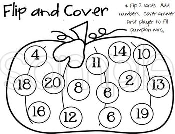 Halloween Theme Math Game - Flip, Add, Cover