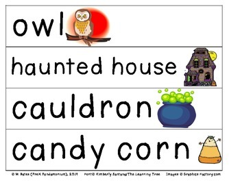 Halloween Theme Pocket Chart Word Cards
