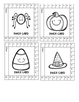 Halloween Theme Punch Cards- Behavior Management